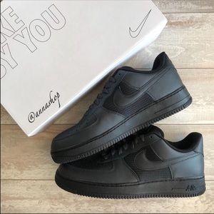 NWT Nike ID Air Force 1 Triple Black Custom